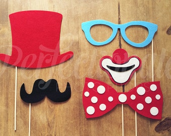 5 Felt Circus Photo-Booth Props | Carnival Photo Props | Wedding Photo-Booth Props | Carnival Photo-Booth | Circus Photo Props