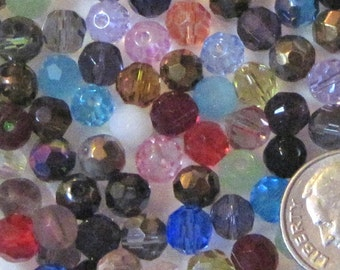 50/ 100/ or 500 Loose 6mm Faceted Glass Beads- Random Color Assortment