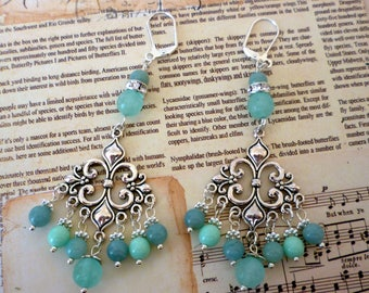 Blue Amazonite Chandelier Earrings Bead Dangle Earrings Drop Earrings
