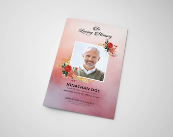 Funeral Program Template | Memorial Program | Photoshop Printable Template | Instant Download