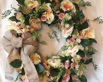 Front Door Wreath - Spring Wreaths for Front Door - Rose Wreaths - Spring Wreaths - Summer Wreaths - Spring Door Wreaths - Spring Door Decor