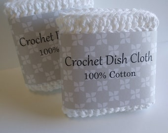 Crochet dishcloth, White Crochet dish cloth, Crochet wash cloth, 100% cotton dish cloth, Set of 2