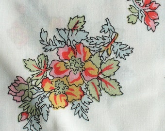 Vintage Fabric Floral on White