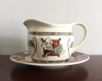 Pfaltzgraff Gravy Boat with Under Plate / Mission Flower / Stoneware / Small Pitcher / Dinnerware / Vintage Pfaltzgraff / Replacement