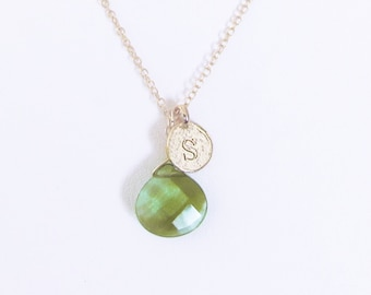 S necklace, letter s necklace, initial S necklace, gold green stone pendant necklace, personalize birthstone gift, letter S stone jewelry