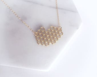 HONEY - Gold Hexagon Honeycone Beehive, Gold Filled 1.2mm Cable Chain, Layering Necklace