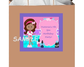 18 Personalized Spa Party Stickers,Birthday Favors,Bag Box Labels,Supplies,Shower,Spa Day,Tags,Custom Made