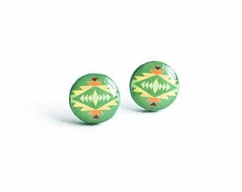 Tribal stud earrings, green post earrings native earrings studs ethnic jewelry
