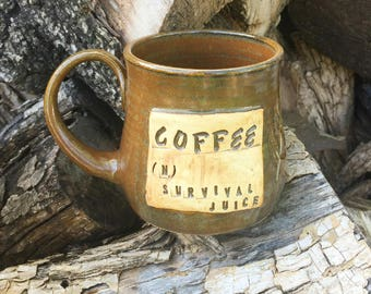 Brown Pottery Mug- Coffee (n.) Survival Juice- Locust Leaf Design- Handmade by Daisy Friesen