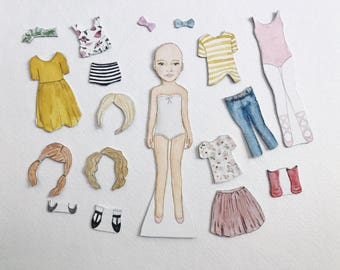 Magnetic Paper Dolls | Ready to Ship | watercolor portrait