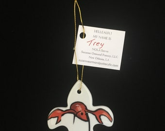 """New Orleans Proud Fleur de lis Ornament featuring Crawfish """"Trey"""""""
