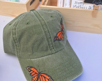 Hand painted monarch butterfly dad hat