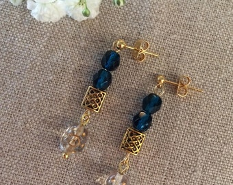 earrings, dangle gold and teal