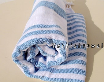 Turkishtowel-2015 Collection-Soft,High Quality,Hand Woven,Cotton Bath,Beach,Pool,Spa,Yoga,Travel Towel-Turquoise,White Stripes