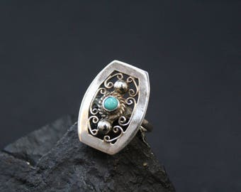 Sterling Silver and Turquoise Filigree Ring, Turquoise Filigree Jewelry, Sterling Filigree Ring, Antique Sterling Silver Turquoise Ring