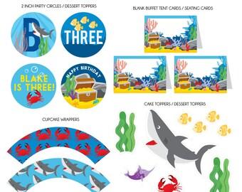 DIGITAL FILES Party Kit: Shark Ocean Decorations Party Kit, Shark Party Decorations, Under the Sea Birthday, Shark Ocean Theme