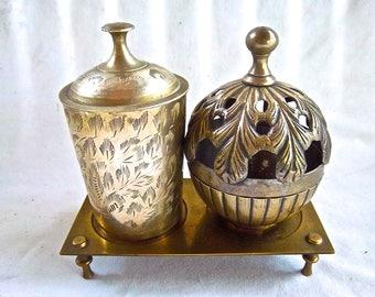 Vintage Brass Solid Ornate Storage Boxes Jars Vintage Brass Decor and Stand Vintage Home and Living Home Decor Storage Organization Set
