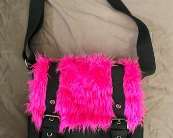 Black Messenger Bag With Hot Pink Faux Fur
