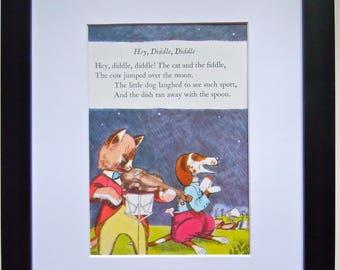 Vintage Nursery Art - Framed Golden Book Page - Hey Diddle Diddle - Nursery Decor -  Mother Goose Poem - Framed Nursery Wall Art