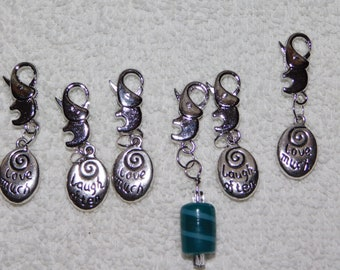 5 Love Much & Laugh Often and 1 Glass Stitch Markers