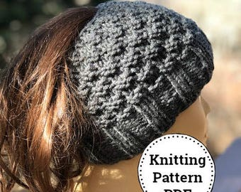 Knit Bun Hat Pattern, Messy Bun Hat Pattern, Knitting Pattern, Messy Bun Hat, Ponytail Hat, Ladies Winter Hat Pattern, Ladies Bun Hat
