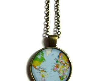 WORLD MAP NECKLACE - vintage globe pendant - world map pendant - teacher gift - world travel adventurer - world map globe jewelry