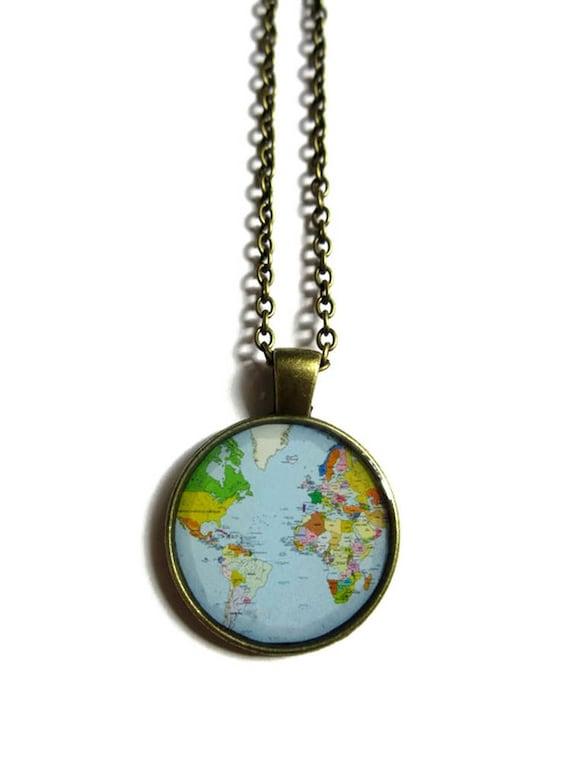 World map necklace vintage globe pendant world map pendant gumiabroncs Gallery