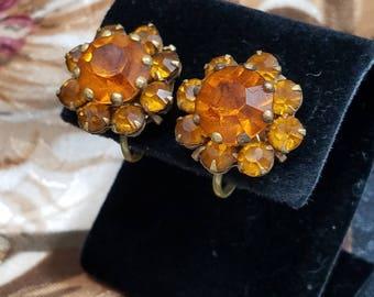 Gorgeous Amber Rhinestone Flower Screw Back Clip Earrings