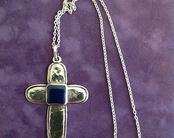 Vintage handmade pewter Cross with blue stone Necklace