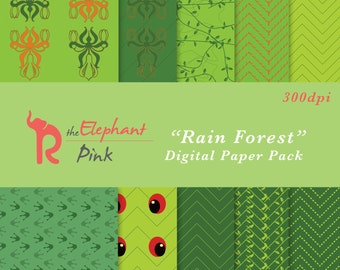 Green Digital Paper, Chevron Digital Paper, Instant Download Paper, Printable Paper, Digital Paper Pack, Green Chevron Paper, Digital Paper