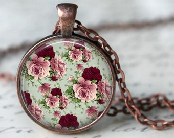 Shabby Chic Floral Pendant, Necklace or Key Chain in choice of Silver, Bronze, Copper or Black - Pink, Green, Red Floral Design