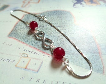 925 sterling silver bracelet infinity jade beads dark pink berry coloured healing stone marriage