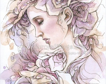 Free US Shipping - Reproduction Fantasy Art Print 5 x 7 Inches - Weeping Rose - Woman in Roses in Soft Lavender Hues - by Mitzi Sato-Wiuff