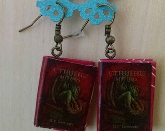 Mini Cthulhu Book Earrings - Handmade Book Jewelry - Handmade H.P. Lovecraft Book Earrings - Mini Book Jewelry - Handmade Mini Book Earrings
