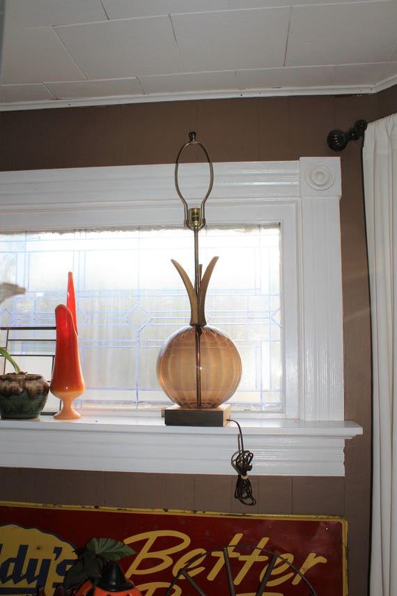 Vintage Mid Century Pineapple Lamp Brown Glass and Teak Wood 1950s