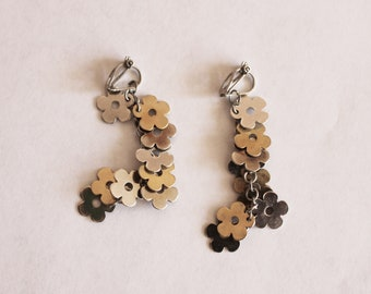 Floral Earrings/Flowers cluster Earrings/Flower Clip Earrings
