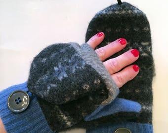 Fingerless Mittens for Women, Convertible Mittens, Fingerless Mittens, Felted Mittens, Texting Gloves, Flip Mittens, Glittens, Gift for Her