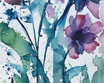 Long Stem Florals, original watercolor painting by Lara Mitchell