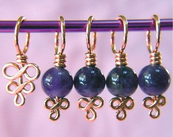 Amethyst Stitch Markers - Set of 5 - Choose Copper or Sterling Silver