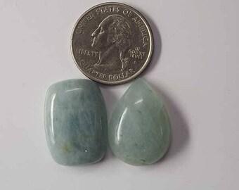 Natural Aqua Marine Gemstone Cabochon 2 Pieces  smooth cabochons 10.2 Grams Loose Gemstones calibrated . [7296]