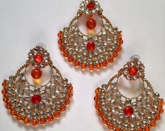 Kundan Maang Tikka with Earring Set,Jhoomer Bollywood Earrings/ Punjabi Style Earrings,Traditional Indian Wedding Tika earring