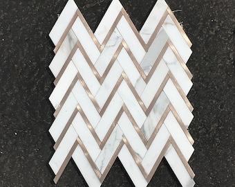 Polished Calacatta Gold Marble & Rose Gold Herringbone Mosaic Tiles