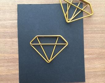 Gold Diamond Shaped Planner clip, gold paper clip, geometric paper clip
