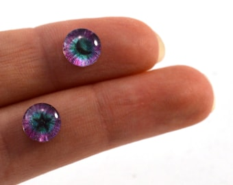8mm Fantasy Star and Moon Glass Eye Cabochons - Taxidermy Eyes for Doll or Jewelry Making - Set of 2