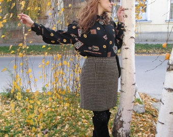 Vtg Mini Skirt 80s 90s / High Waisted / Wool / Plaid / Casual / Work / Retro Fashion / Hipster / Winter / Pencil / Preppy / Classy Skirt