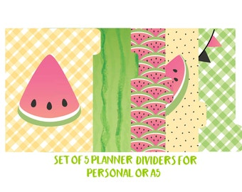 Filofax, Kikki-k Dividers. Set of 5 tabbed planner dividers for Personal, A6, A5 sized planners. Side or Top Tabs.Laminated. Watermelon  145