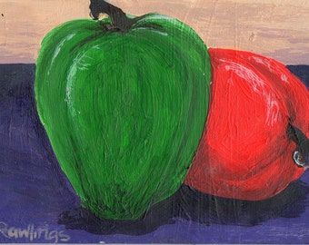 Peppers, original acrylic painting, ACEO