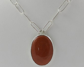 Sunstone Orange Sterling Silver Necklace