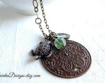 Sea Treasures Pendant Necklace Long Antique Style Medallion Necklace Sea Turtle Pendant Gift for Mermaid Ocean and Beach Lover Gift for Her