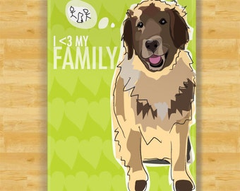 Dog Magnet with Leonberger - I Heart My Family - Leonberger Gifts Fridge Refrigerator Dog Magnets
